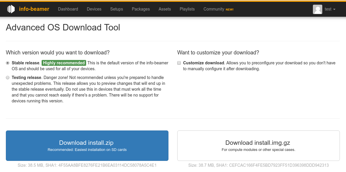 New OS download page for customizing your info-beamer download